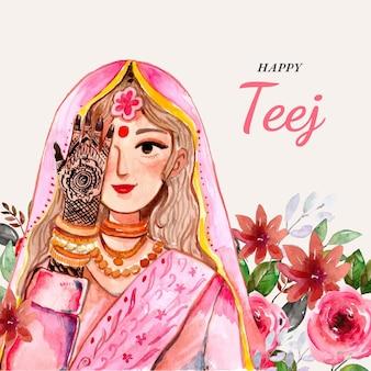 Hand painted watercolor teej festival illustration