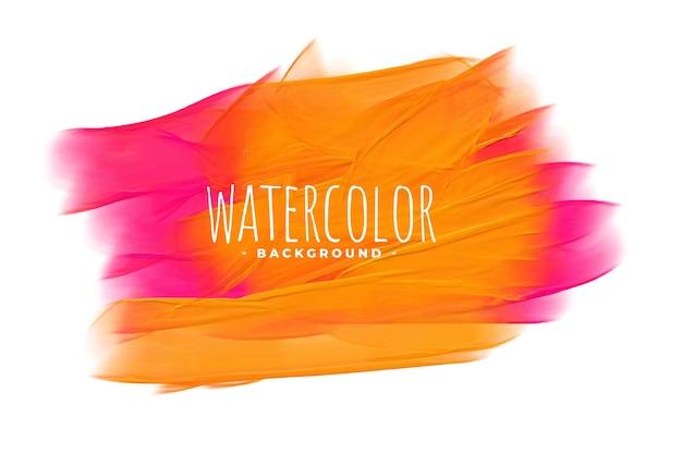 Struttura dell'acquerello dipinto a mano in tonalità rosa e arancio