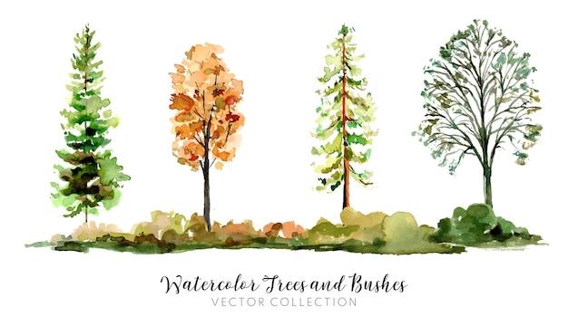 손으로 그린 수채화 나무와 덤불 벡터 컬렉션