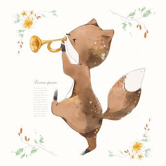 Ручная роспись акварельной тропической милой лисы животных на ветке с тропическими цветами и листьями