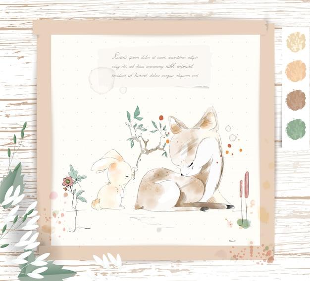手描きの水彩画の熱帯のかわいい動物のウサギと鹿の熱帯の花と葉の枝