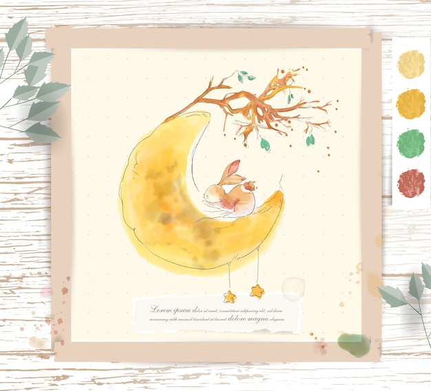 Hand painted watercolor tropical cute animal rabbit on the moon with tropical flowers and leaves
