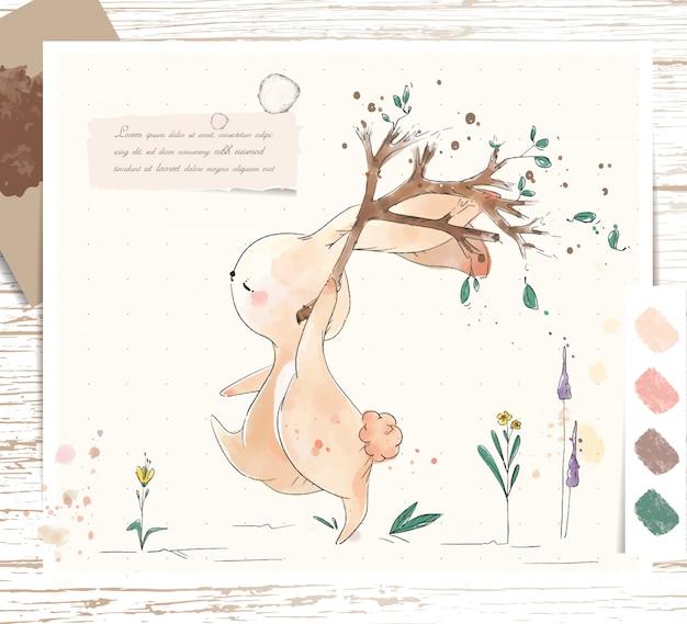 손 열대 꽃과 나뭇잎과 나뭇 가지에 수채화 열대 귀여운 동물 토끼를 그린