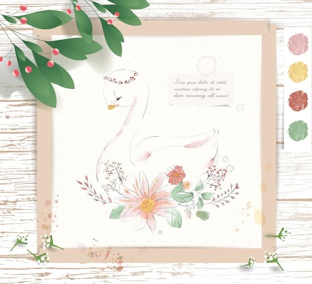 手描きの熱帯の花と葉の枝に水彩の熱帯かわいい動物の白鳥