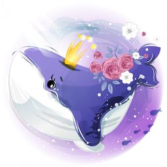 熱帯の花と海の下の葉のある枝に手描き水彩の熱帯かわいい動物クジラ
