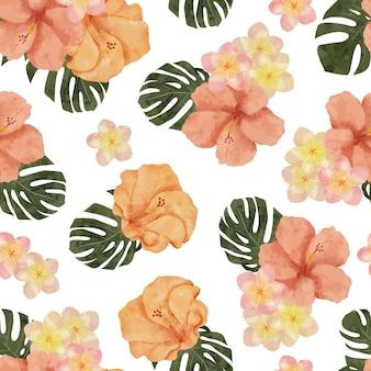 Hand painted watercolor tropical flower arrangement seamless pattern