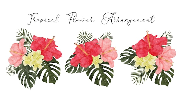 Hand painted watercolor tropical flower arrangement with monstera hibiscus palm