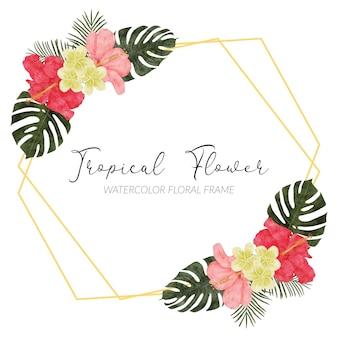 Ручная роспись акварелью тропическая цветочная композиция с пальмой гибискуса монстера