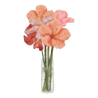Hand painted watercolor tropical hibiscus flower arrangement bouquet