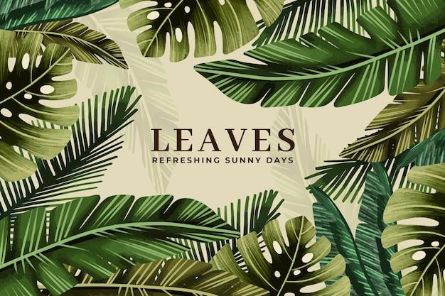 Fondo tropicale delle foglie dell'acquerello dipinto a mano Vettore gratuito