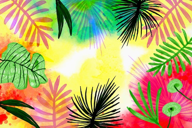 手描きの水彩熱帯の葉の背景