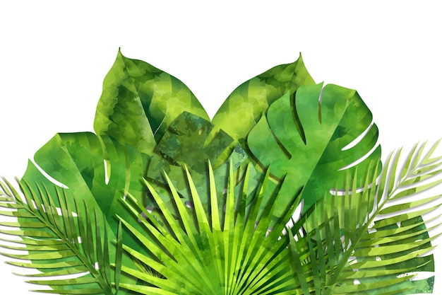 손으로 그린 수채화 열대 잎 배경