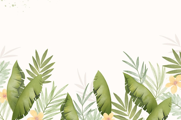 Hand painted watercolor tropical leaves background