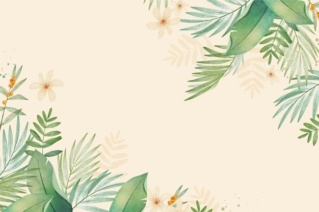Ручная роспись акварель тропических листьев фон