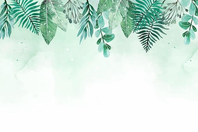 손으로 그린 수채화 열대 잎 여름 배경