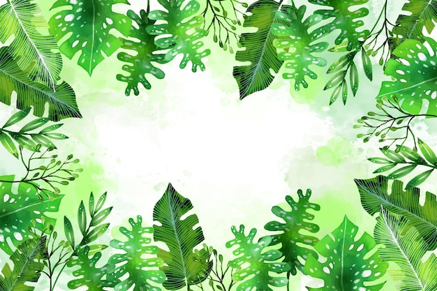 Ручная роспись акварелью тропические листья летний фон