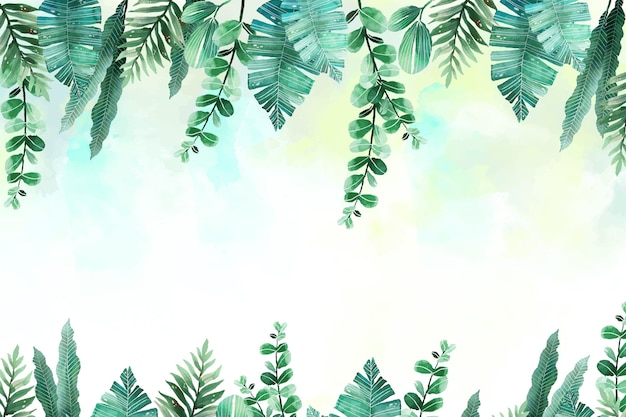 Hand painted watercolor tropical leaves summer background