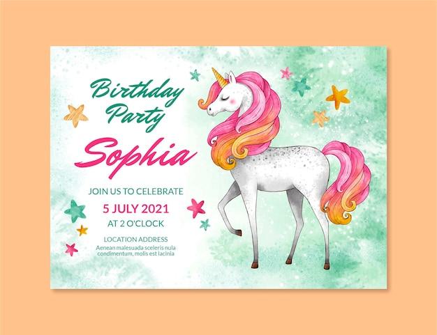 Modello di invito compleanno unicorno dell'acquerello dipinto a mano