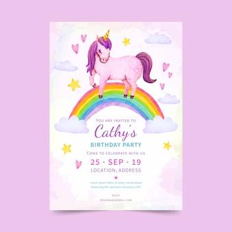 Hand painted watercolor unicorn birthday invitation