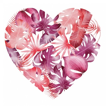 Hand painted watercolor valentines tropical leaves pattern in heart shape
