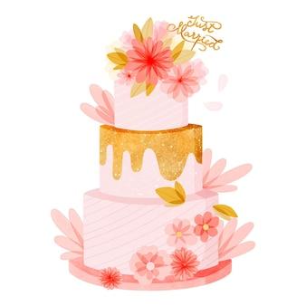 トッパーと手描きの水彩ウエディングケーキ