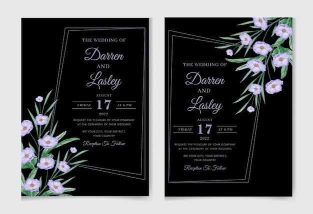 手描きの水彩画の結婚式の招待カードのデザイン