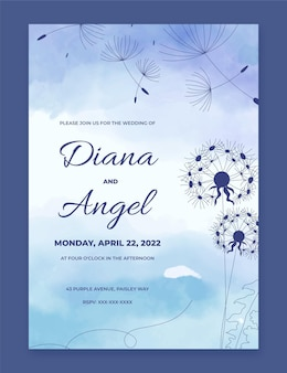Hand painted watercolor wedding invitation template