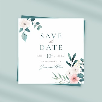 Hand painted watercolor wedding squared flyer