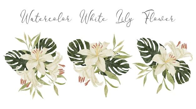 手描きの水彩画の白いユリの花とモンステラトロピカルセット
