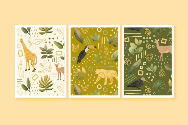 手描きの水彩野生動物カバーコレクション
