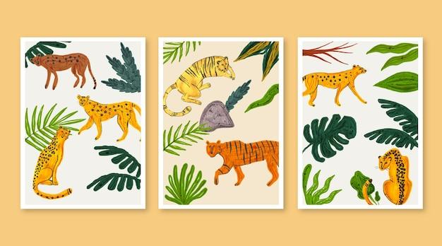 Collezione di copertine di animali selvatici dell'acquerello dipinto a mano