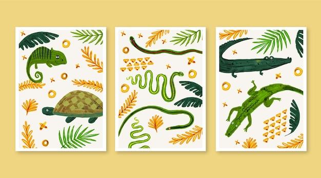 Ручная роспись акварелью обложки диких животных