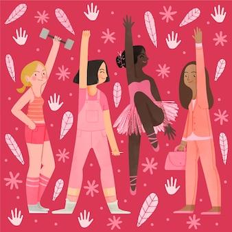 Ручная роспись акварелью день равенства женщин иллюстрация