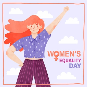 Hand painted watercolor women's equality day illustration