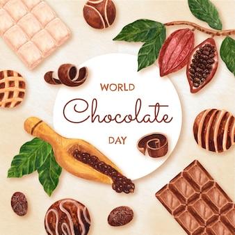 手描き水彩世界チョコレートの日のイラスト