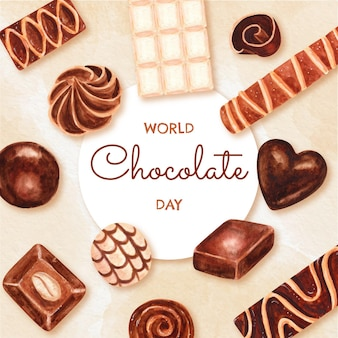 Hand painted watercolor world chocolate day illustration