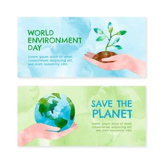 Modello di banner giornata mondiale dell'ambiente dell'acquerello dipinto a mano