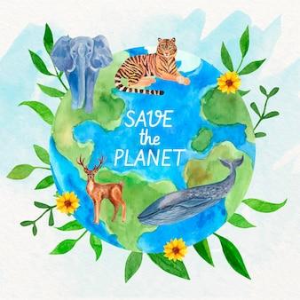 손으로 그린 수채화 세계 환경의 날 그림