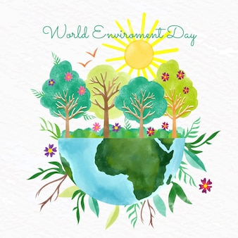 Hand painted watercolor world environment day illustration