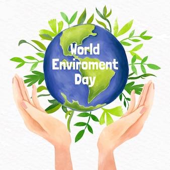 Ручная роспись акварелью всемирный день окружающей среды иллюстрация
