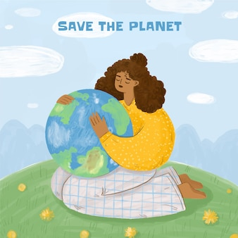 Hand painted watercolor world environment day save the planet illustration