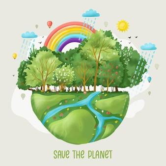 손으로 그린 수채화 세계 환경의 날 행성 그림을 저장