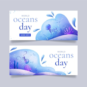 Hand painted watercolor world oceans day banner template