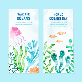 Hand painted watercolor world oceans day banners set