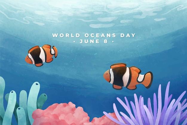 Illustrazione di giornata mondiale degli oceani dell'acquerello dipinto a mano