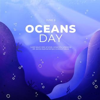 Ручная роспись акварелью всемирный день океанов