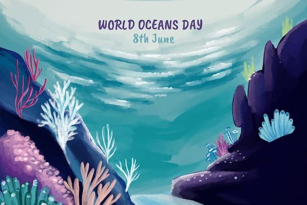 手描きの水彩世界海洋デーのイラスト