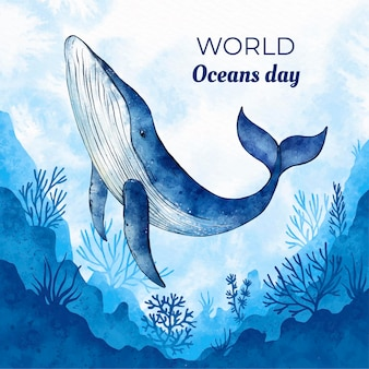 Hand painted watercolor world oceans day illustration