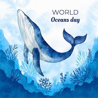 손으로 그린 수채화 세계 바다의 날 그림