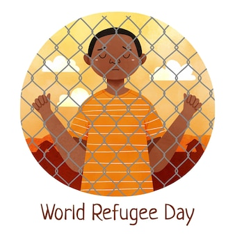 Hand painted watercolor world refugee day illustration